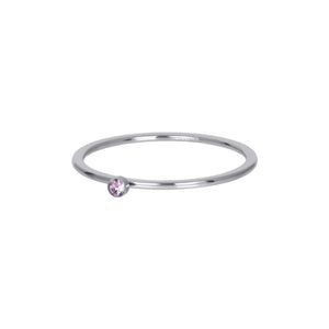 Bague Recouvrante Pink 1 Stone Crystal Argent 1 mm - iXXXi