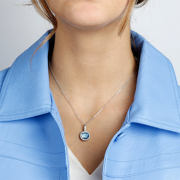 Collier Over The Rainbow Prisma Gemstone Bleu Clair et Argent - Bianca