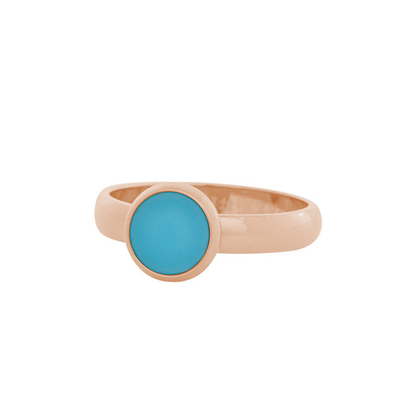 Bague Pierre Turquoise Mat Or Rose 4 mm - iXXXi