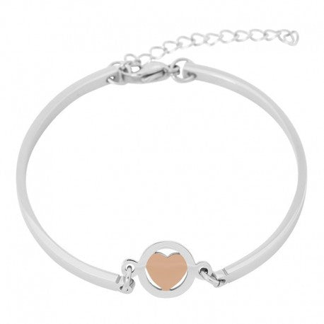Bracelet Bangle Coeur Or Rose Argent - iXXXi