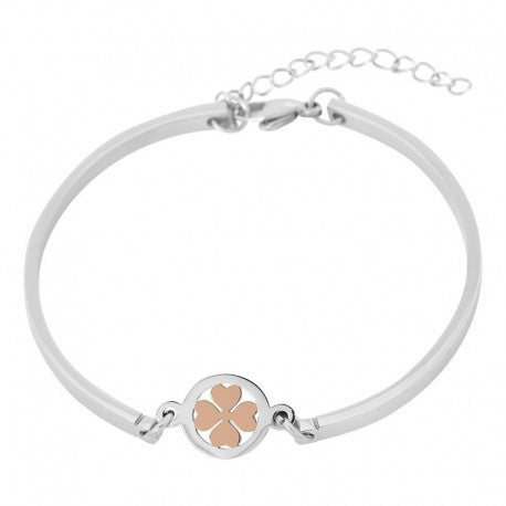 Bracelet Bangle Trèfle Or Rose Argent - iXXXi