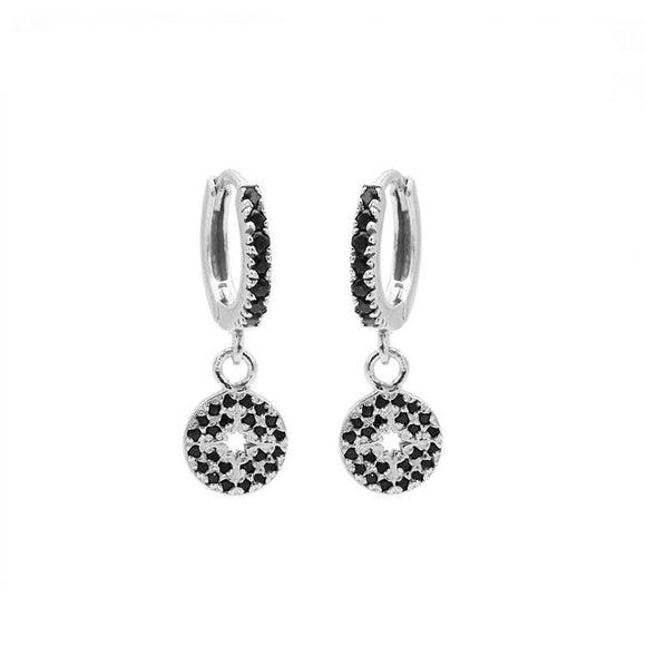 Boucles d'oreilles Zirconia Black Hinged Hoops Morningstar Disc Argent - Karma