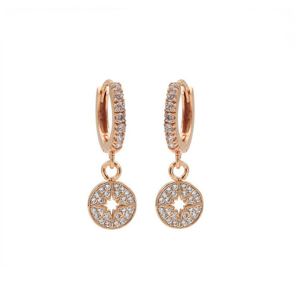 Boucles d'oreilles Zirconia Hinged Hoops Morningstar Disc Argent Plaqué Or Rose - Karma