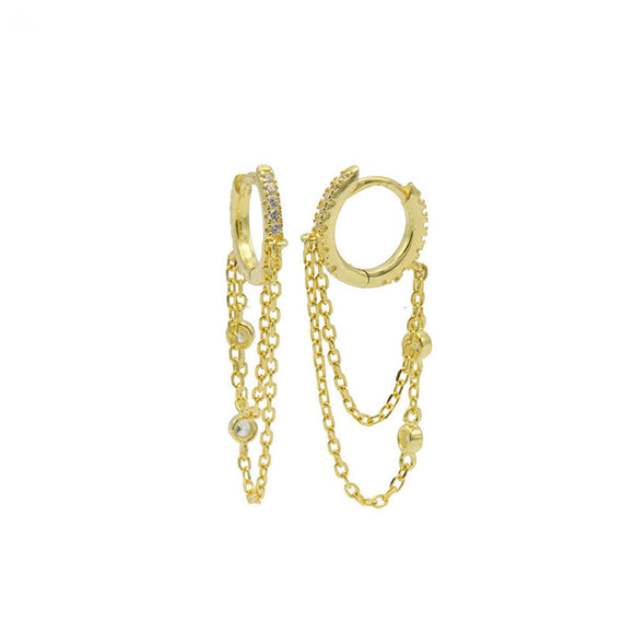 Boucles d'oreilles Hinged Hoops Double Chain Argent Plaqué Or - Karma