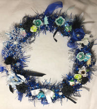 Load image into Gallery viewer, Blue And Silver Large Christmas Wreath