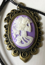 Load image into Gallery viewer, Purple Cameo Lady Skeleton Necklace - Demize Collectibles LTD