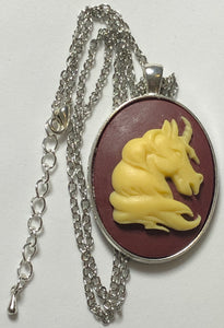 Large Cameo Unicorn Necklace