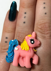 Pink Pony With Blue Tail Ring - Demize Collectibles LTD