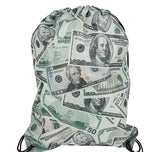 "16"" x 13"" MONEY PRINT DRAWSTRING BACKPACK-  pack of 12 ($2.95 each)"