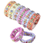BEADED STRETCH FLOWER BRACELET-  pack of 12 ($0.5 each)