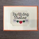 Cross Stitch Greeting Card - Birthday Wishes