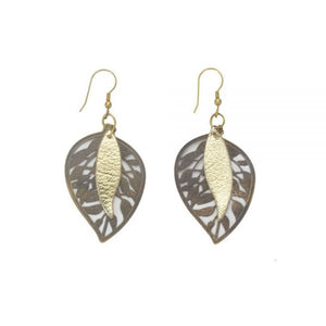 Earrings - Summer Orchard Etched Brass Leaf with Leather
