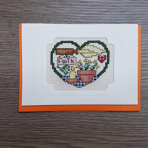 Cross Stitch Greeting Card - Faith
