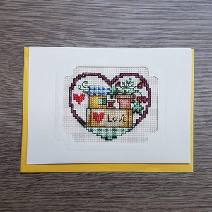 Cross Stitch Greeting Card - Love