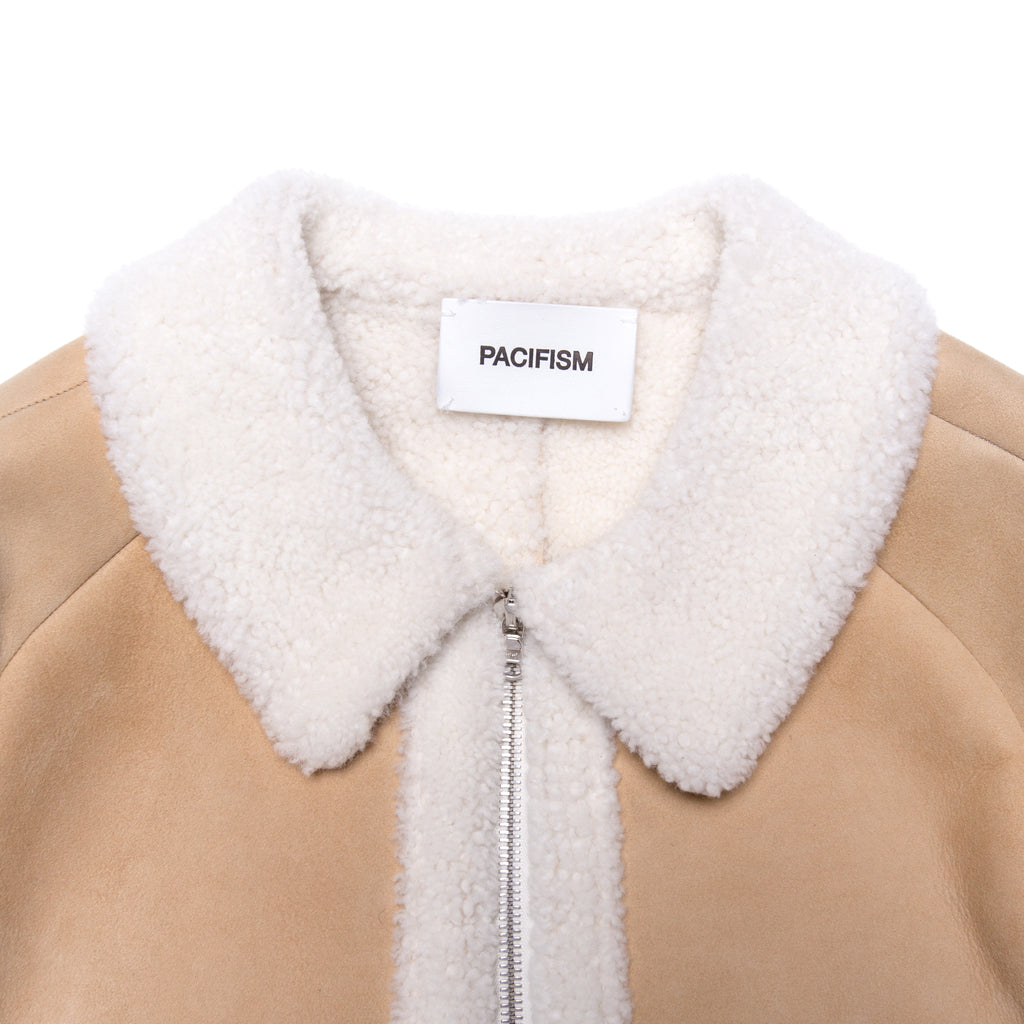 PEACE MOTIF SHEARLING JACKET CREAM