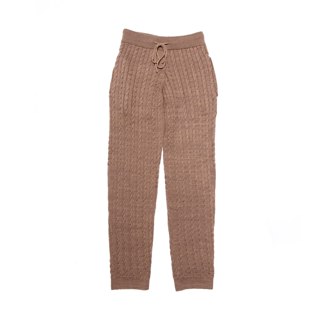 CABLE KNIT JOGGERS BEIGE