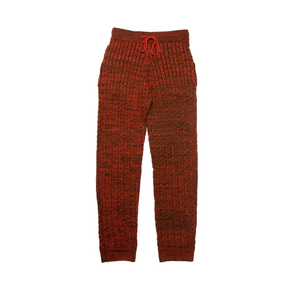 CABLE KNIT JOGGERS ORANGE/GREEN