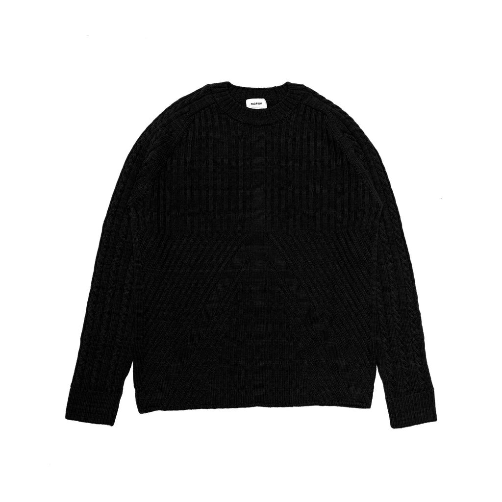 PEACE CABLE KNIT JUMPER BLACK