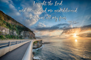 Word + Image: Psalm 34:4, Sea Cliff Bridge (WI039R)