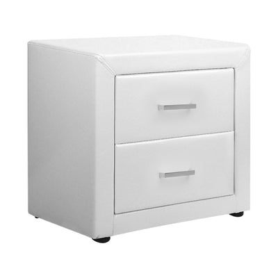 Norway Premium PVC Leather Bedside Table | White