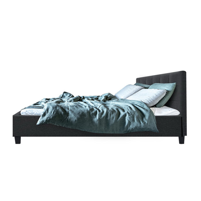 Bristlecone Bed Frame with Tufted Headboard | Queen | Charcoal