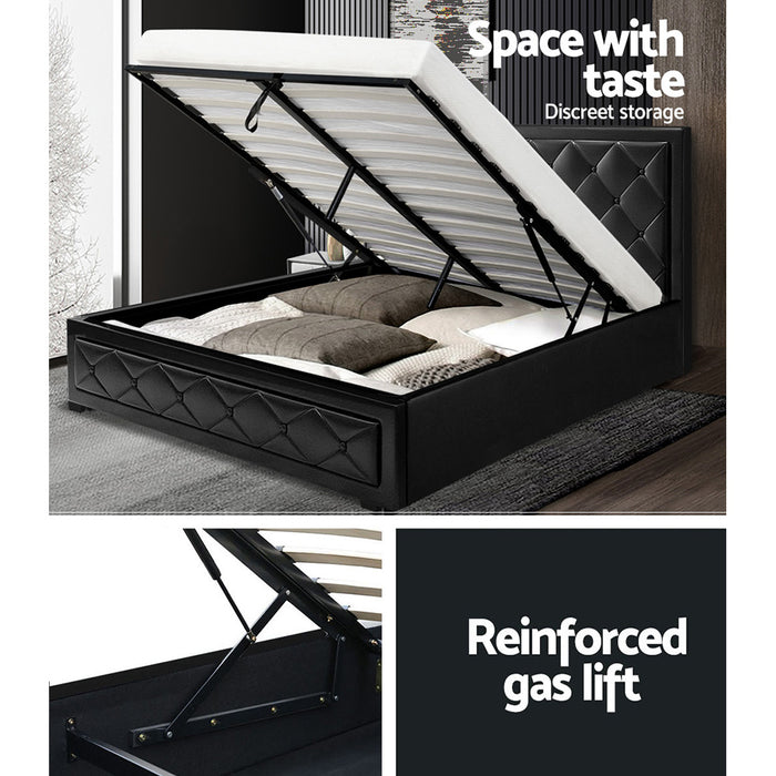 Tanyosho Gas Lift Bed Frame | Double | Black
