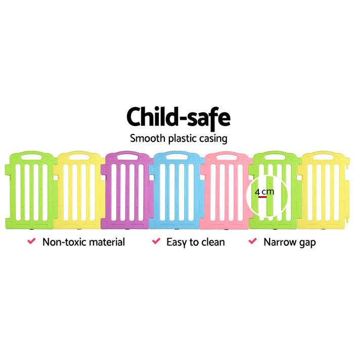 Happy Time 19 Panel Plastic Baby Playpen Kids Toddler Fence | Multi Color