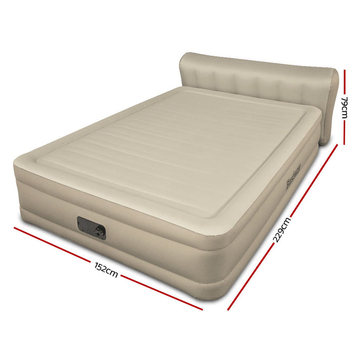 Bestway Regal with Bed Head Inflatable Air Mattress with built in Auto Pump | Queen | Sand