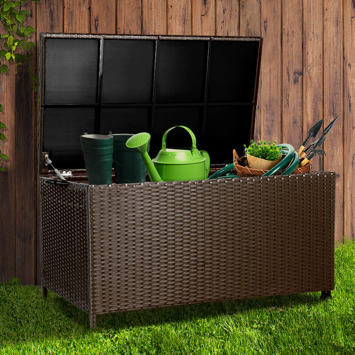 Big Boy Deluxe 320L Wicker Outdoor Storage Box | Natural