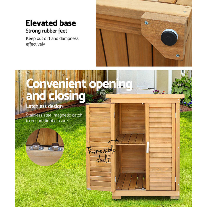 Edulis Portable Wooden Garden Storage Cabinet | Natural