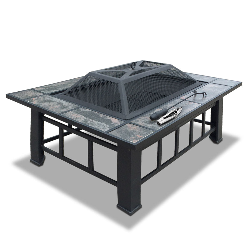 Growler Outdoor Fire Pit BBQ or Ice Chest Table | Black