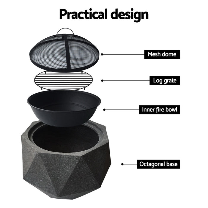Growler Outdoor Portable Lightweight Octagon Fire Pit | Black