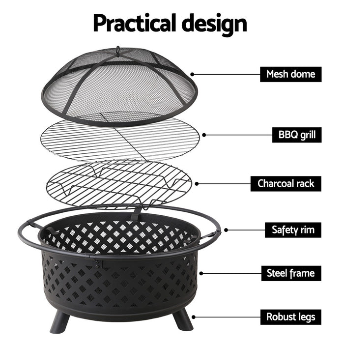 Growler 30 Inch Portable Outdoor Fire Pit & BBQ | Black
