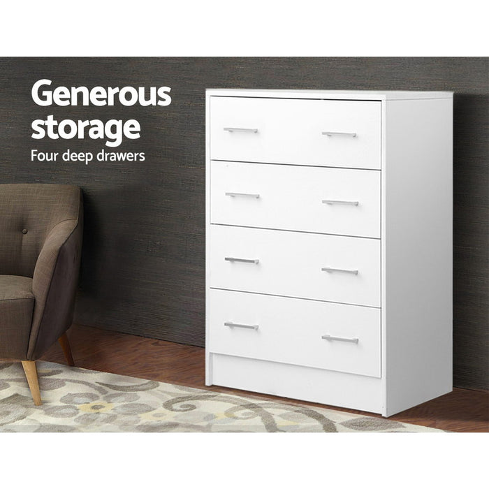 Norway Tallboy 4 Drawer Storage Cabinet | White