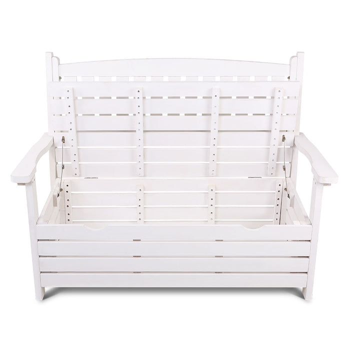 Edulis Outdoor Wooden Storage Bench & Garden Chair | White