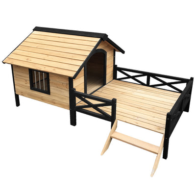 Pet Utopia Extra Extra Large Deluxe Wooden Pet Kennel with Balcony and Stairs | Natural (Fir)