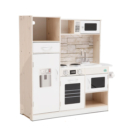 Little Chef Kids Wooden Kitchen Play Set | White/Natural