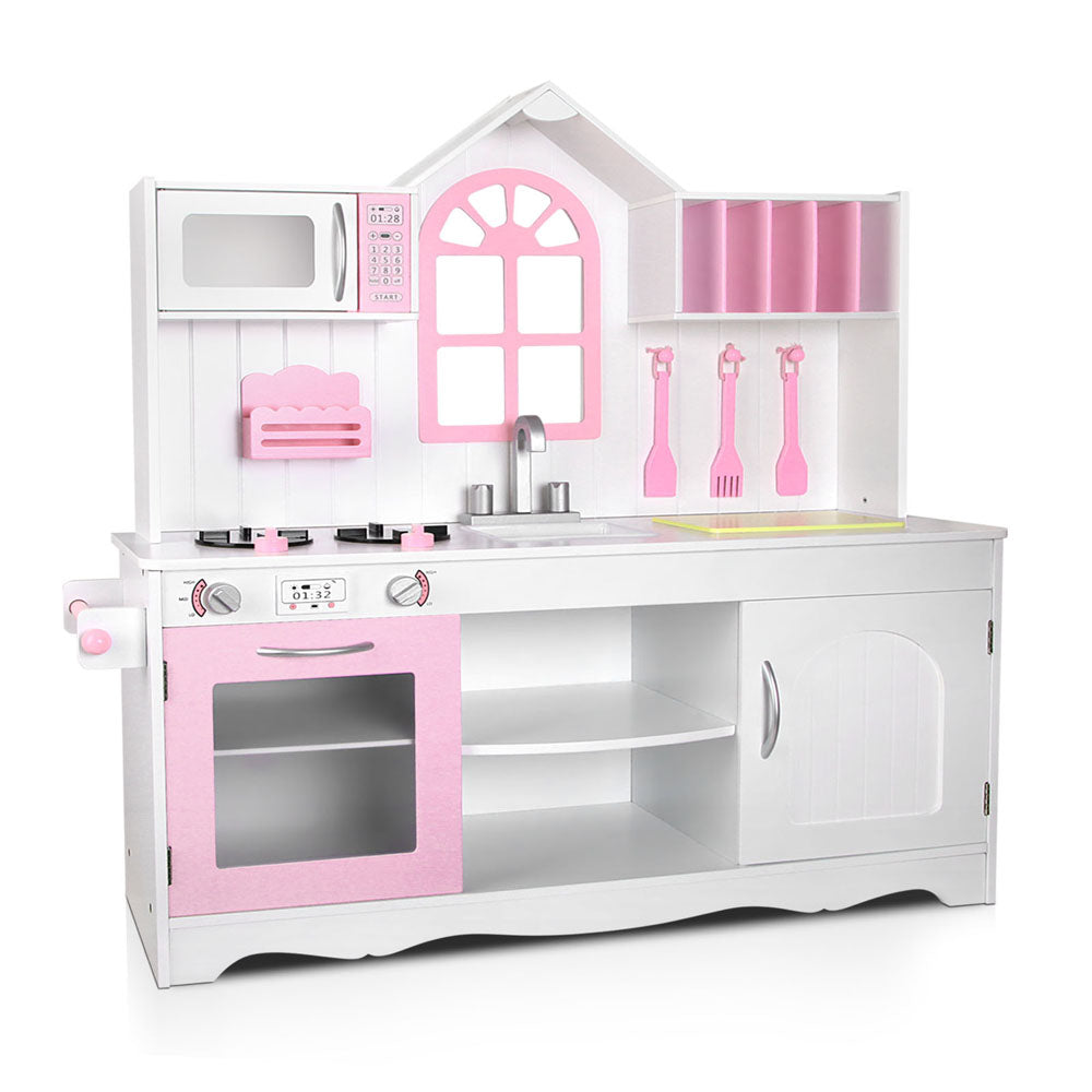 Little Chef Kids Wooden Kitchen Play Set | Pink/White