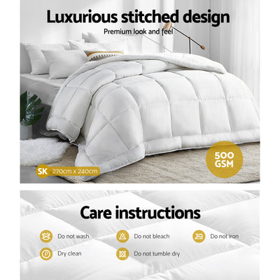 Comfort Sleep by Giselle 500gsm Merino Wool Quilt | Super King | White