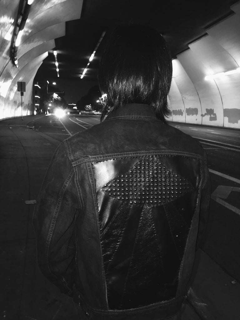 Black Leather UFO Denim Jacket