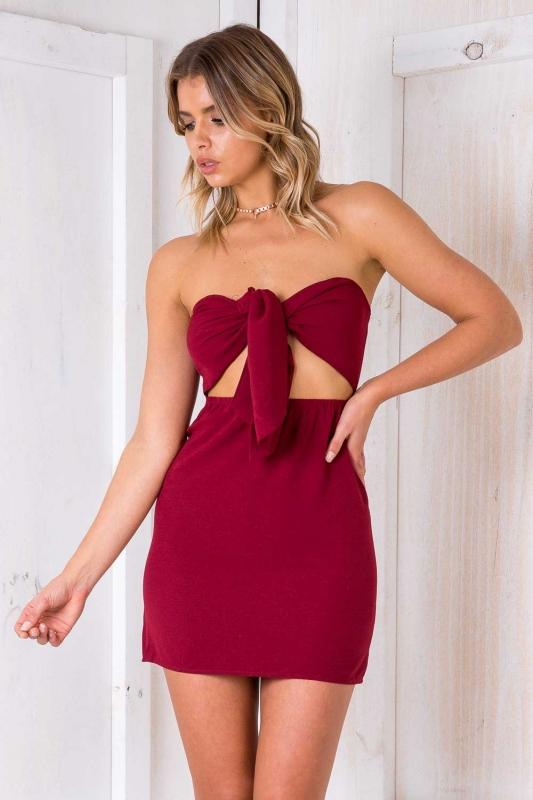 Red bodycon tie Homecoming Dress