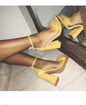 Faux Fur High Heels Sandals