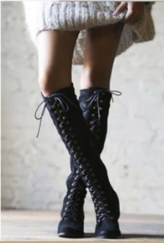 Cute High tie Suede boots