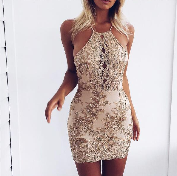 sequin lace floral mini dresses