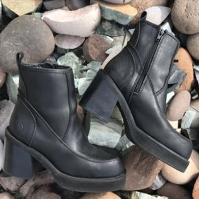 black chunky platforms leather boots