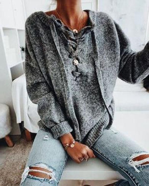 Lace up Casual sweater