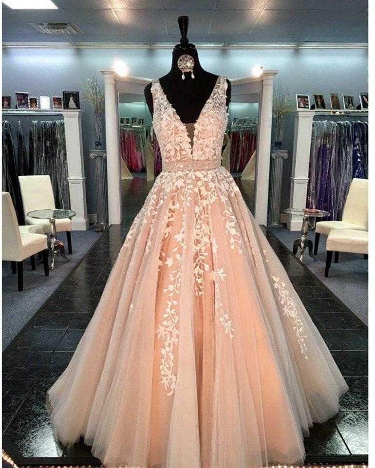 IVY LACE LONG PROM DRESS
