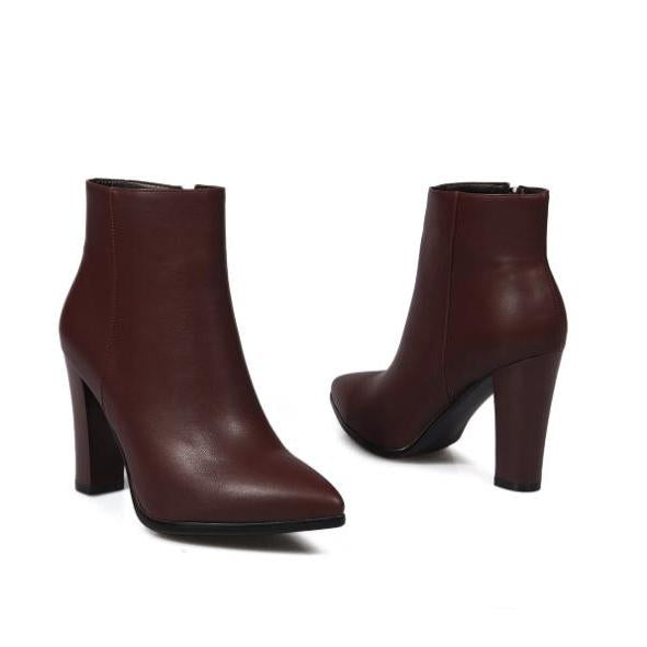 faux leather heel boots