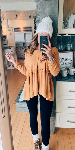 Long Sleeve Knitted Blouse