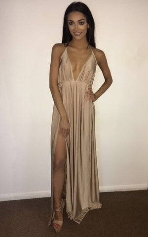 V-Neck Sleeveless Front Split Long Dress